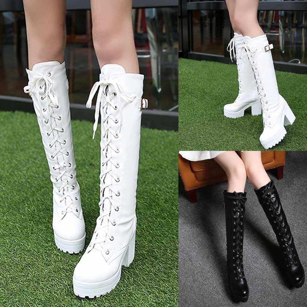 Beyaz çizmeler cos ayakkabı bağcık martin çizmeler kadın platformu kalın topuk artı boyutu çizmeler yüksek bacak bağcıklı çizmeler kadın # YL5