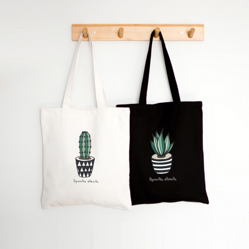 Simple Fresh Cactus Printing Zipper Canvas Bag Student Bag Literary Handbag Casual Travel Shopping Handbag Ladies Shoulder Bag