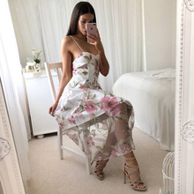 Summer Printed Sling Dress For Women sleeveless V-neck Party Sexy Ladies A-Line Dress Solid Color Dress Beach Female Clothes sweet square neck sleeveless circle printed dress for women
