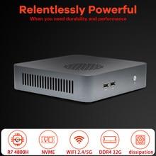 AMD Mini PC Ryzen 7 4800H 8 rdzeni 16 wątków Nuc M.2 PCIE Radeon komputer do gier graficznych HTPC 3*4K HDMI DP type-c WiFi6 BT5.1