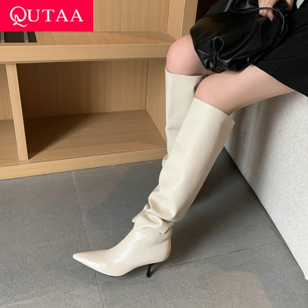 QUTAA 2021 Knee High Women Boots Thin Heel PU Leather Ladies Pointed Toe Fashion Autumn Winter Shoes Size 34 43