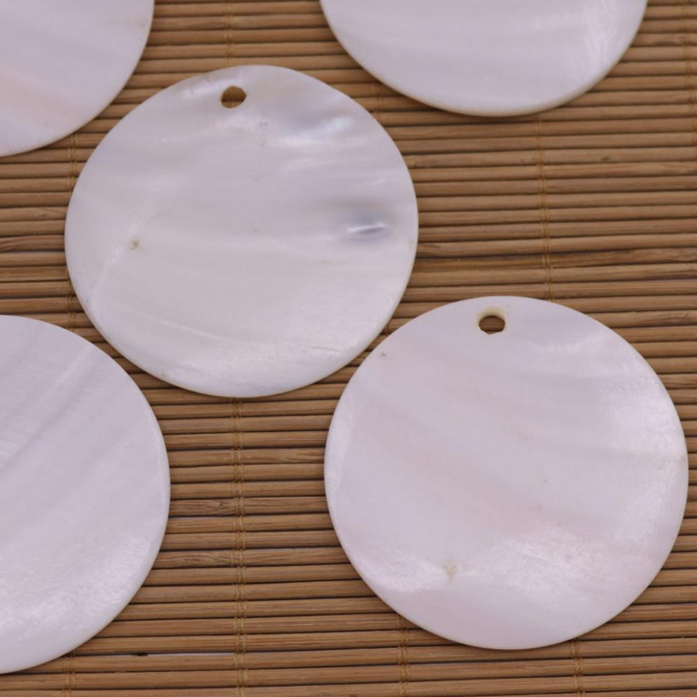 Купить с кэшбэком 5PCS 55mm Round Disc Natural White Mother of Pearl Shell Pendant Charms Crafts