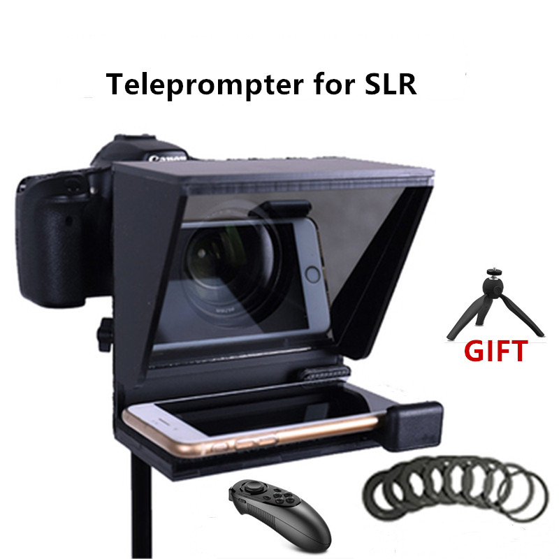 Mini Teleprompter Portable Inscriber Mobile Teleprompter Artifact Video with Remote Control for Phone and DSLR Recordin