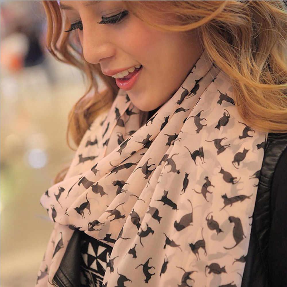 Femmes petit chat longue enveloppement doux écharpe châle écharpe femme léopard col cou plus chaud écharpe dame longue douce mince Triangle foulards