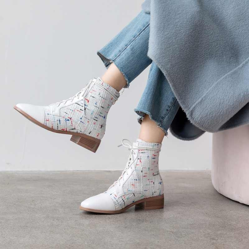 FACNDINLL mode vrouwen schoenen enkellaarsjes nieuwe herfst hoge qulaity med hakken rits zwarte vrouw dress party rijlaarzen maat 43