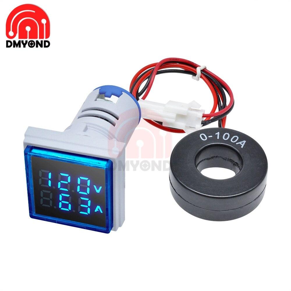 Цифровой светодиодный амперметр переменного напряжения, 22 мм, 0A 100A, 50 в 500 в Измерители напряжения      АлиЭкспресс