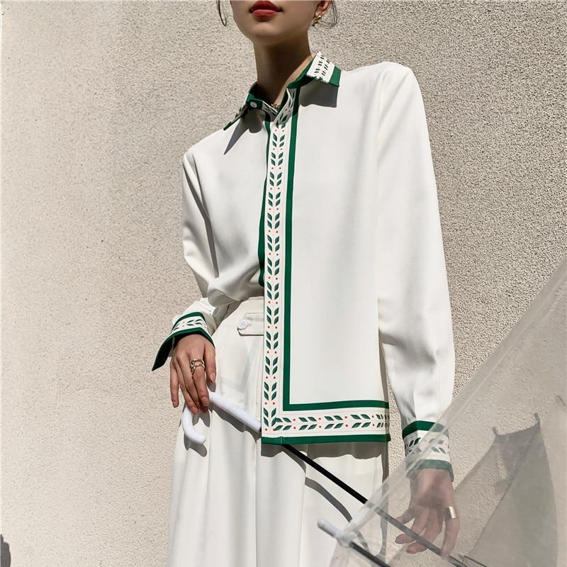CHEERART Spring 2021 Long Sleeve White Shirt For Women Printed Fashion Designer Tops And Blouses Ladies Shirt Shirt Clothing