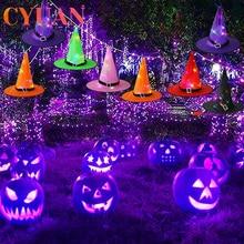 Hat Witch-Hat Garden Wizard Festival Party Halloween Decor CYUAN Cap Lantern Led-Lights
