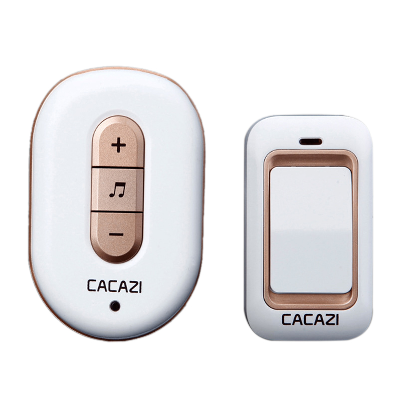 Cacazi Wireless Doorbell No Battery Need Waterproof Smart Door Bell Cordless 120M Remote Ac 110V-220V 1x Emitter 1x Receiver(Us