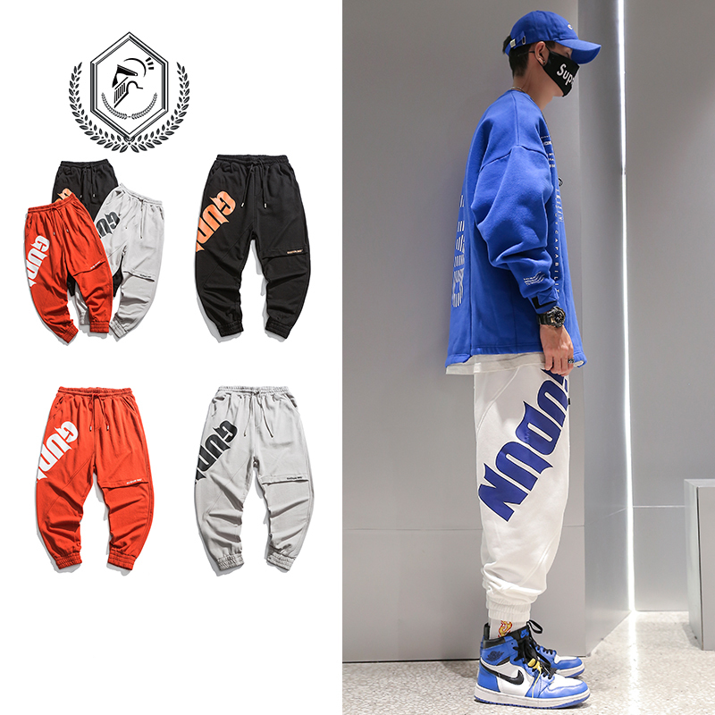 Men Fashion Loose Print Harem Jogger Pants Casual Ankle-Length Hip Hop Pants