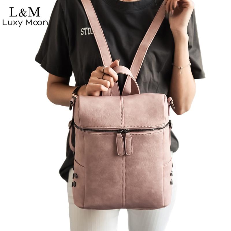 Simple Style Backpack Women Leather Backpacks For Teenage Girls School Bags Fashion Vintage Solid Black Shoulder