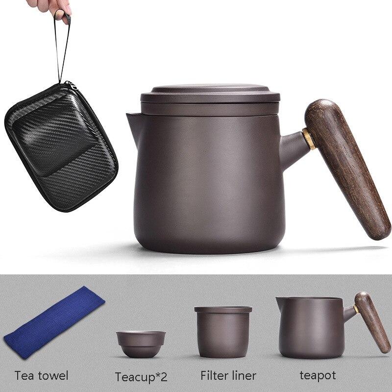 Image 5 - Yixing Purple sand tea set black/red Ceramic Japanese Tea Cup Set Portable Travel Teaware Kung Fu Teaset Cup 1 Pot 2 Cups GaiwanTeaware Sets   -