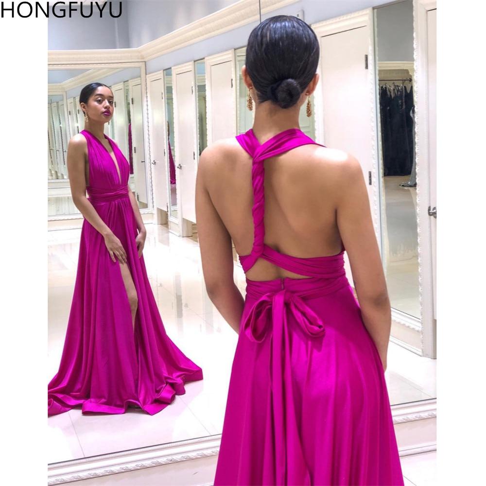 HONGFUYU Long   Prom     Dresses   Simple Sleeveless Satin Formal Evening   Dress   Party Gown Halter Deep V-neck Slit Custom   Prom     Dress