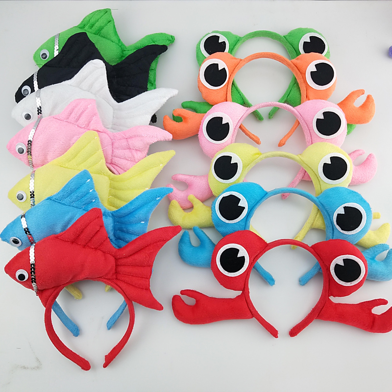 Girl Boy Adult Animal 3D Crab Fish Headband Hairband Party Animal Cosplay Women Birthday Party Gift Halloween Costume For Kids