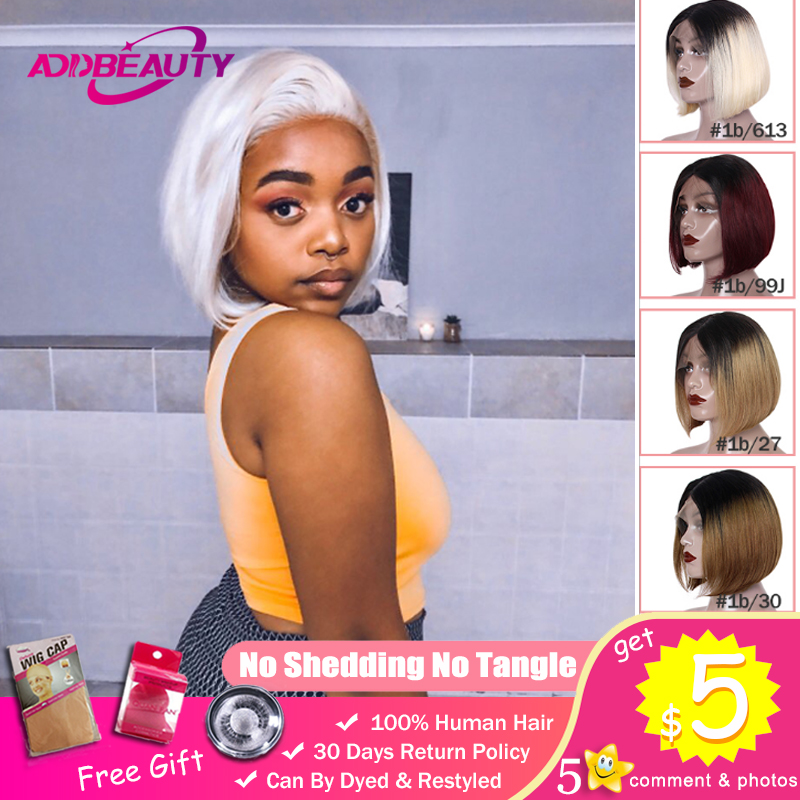 Omber Short Bob L Middle Part Lace Wigs For Black Woman 1b/30 1b/27 1b/99j 613 Blonde Straight Remy Brazilian Human Hair 130%