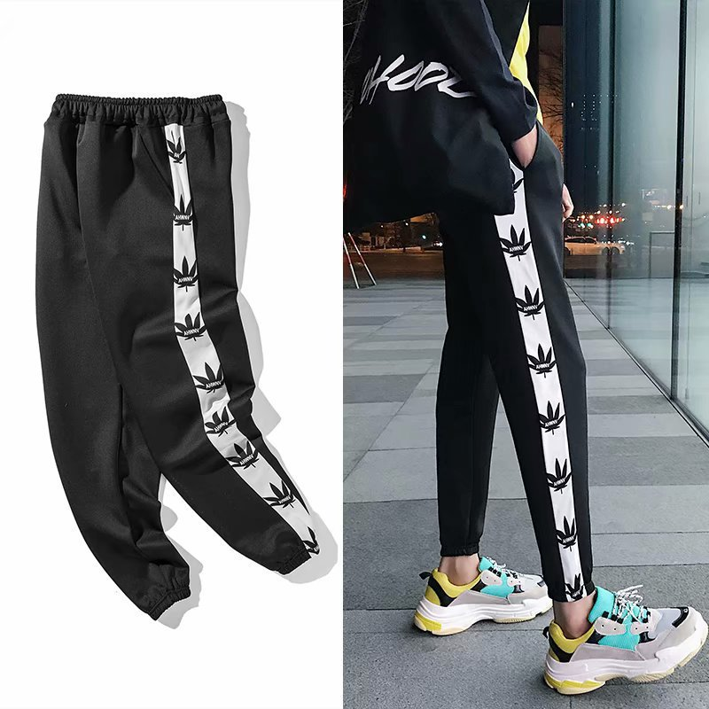Autumn New Style Ankle Banded Pants Korean-style Students Loose-Fit Athletic Pants Men And Women Ulzzang Versatile BF Style Hare