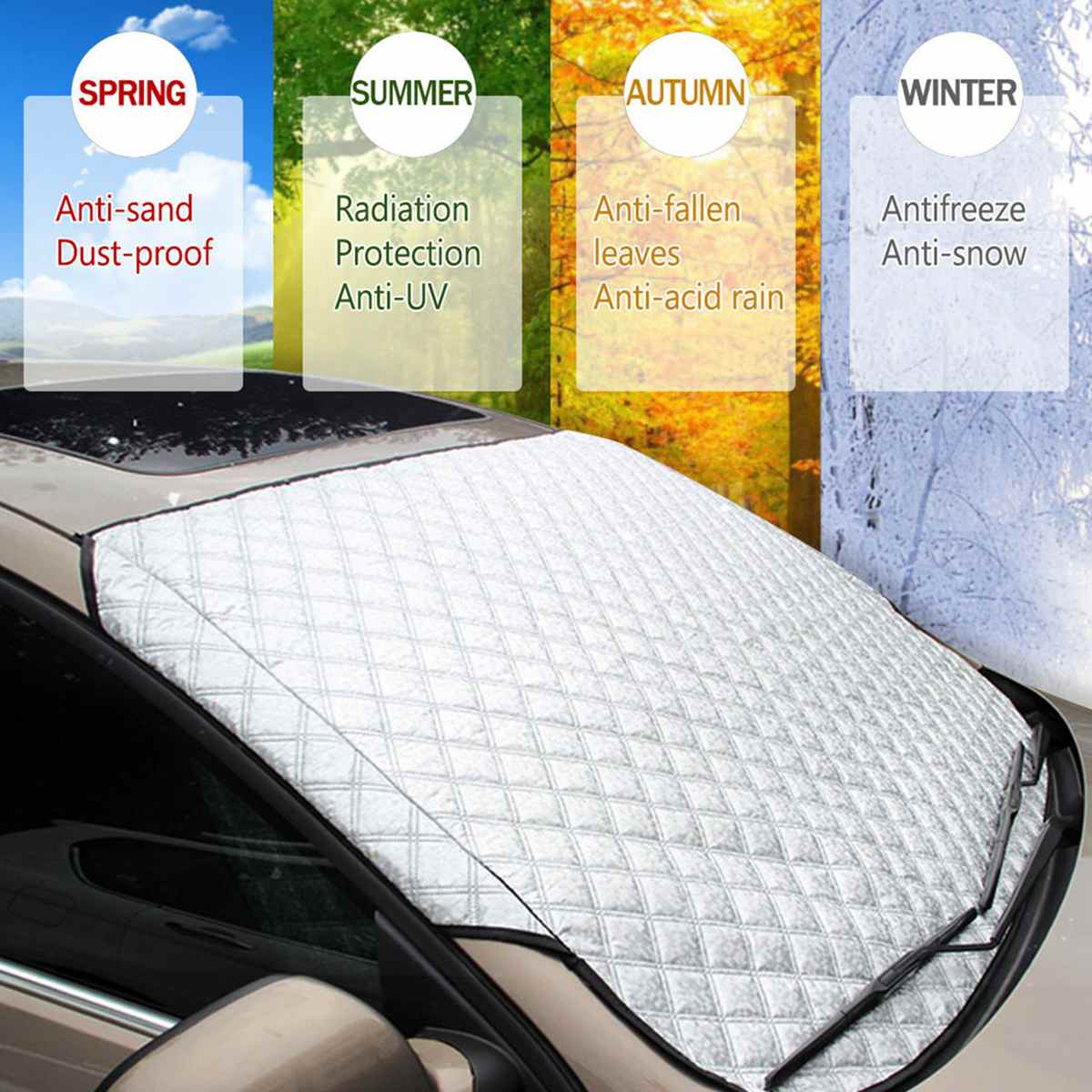 SUV Universal Car Windshield All Weather Snow Cover & Sun Shade Protection Cover Fits Most of Car Window Mirror Protector image
