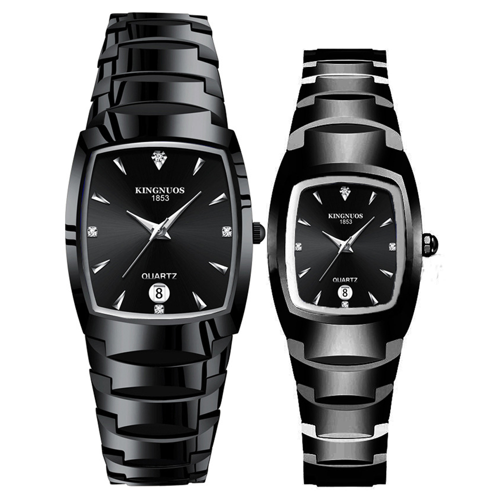 Couple Watches For Lovers Quartz Wristwatches Fashion Luxury Casual Decoration Bracelet Tungsten Steel Color Square Pair Hours