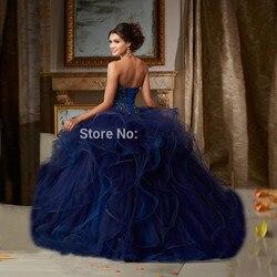 Azul quinceanera vestidos de baile querida tule babados frisado cristais baratos doce 16 vestidos
