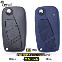 KEYECU 434MHz PCF7946 / PCF7941A Chip Replacement 3 Flip botón mando a distancia de coche para Fiat 500 Panda, Idea Punto Stilo Ducato