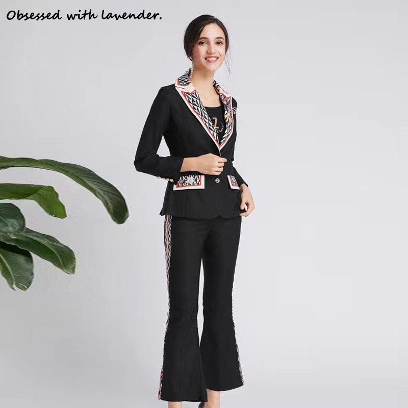Obsessed With Lavender.New Suit Suit V-neck Suit+slim Flared Pants Black Casual Women In The Spring And Autumn