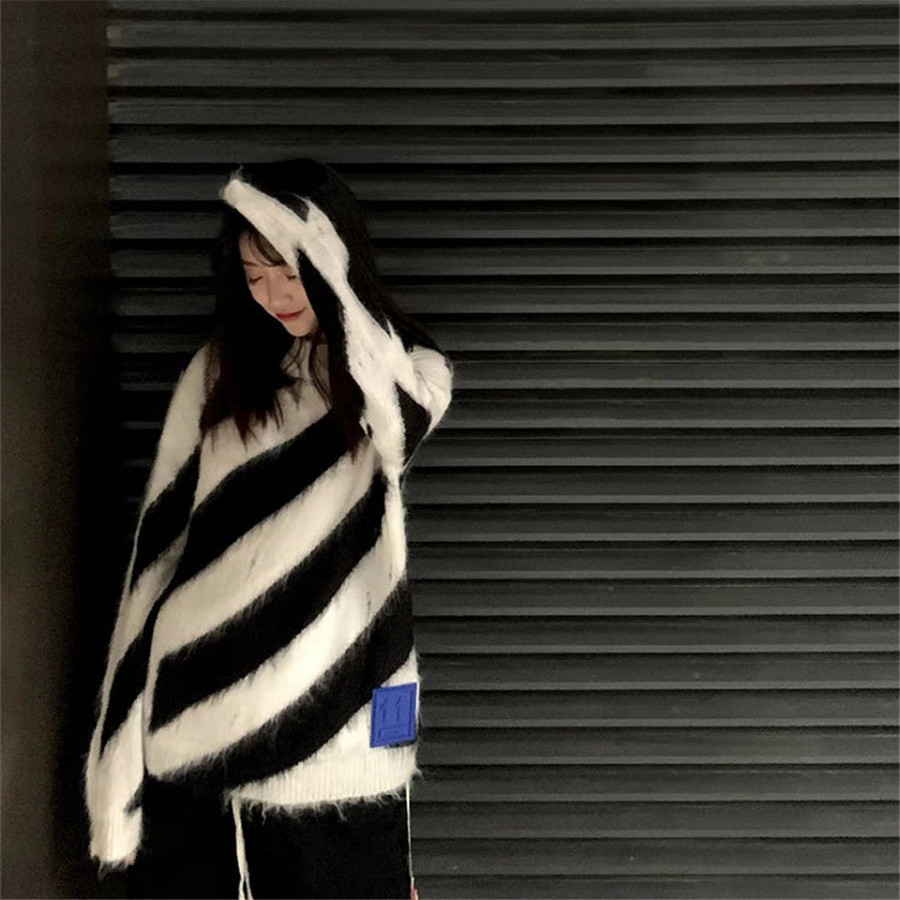 Luxury Brand 2019 Winter Women Sweater Long Sleeve High Quality Knit Sweater Women O-neck Striped Pullovers for Women