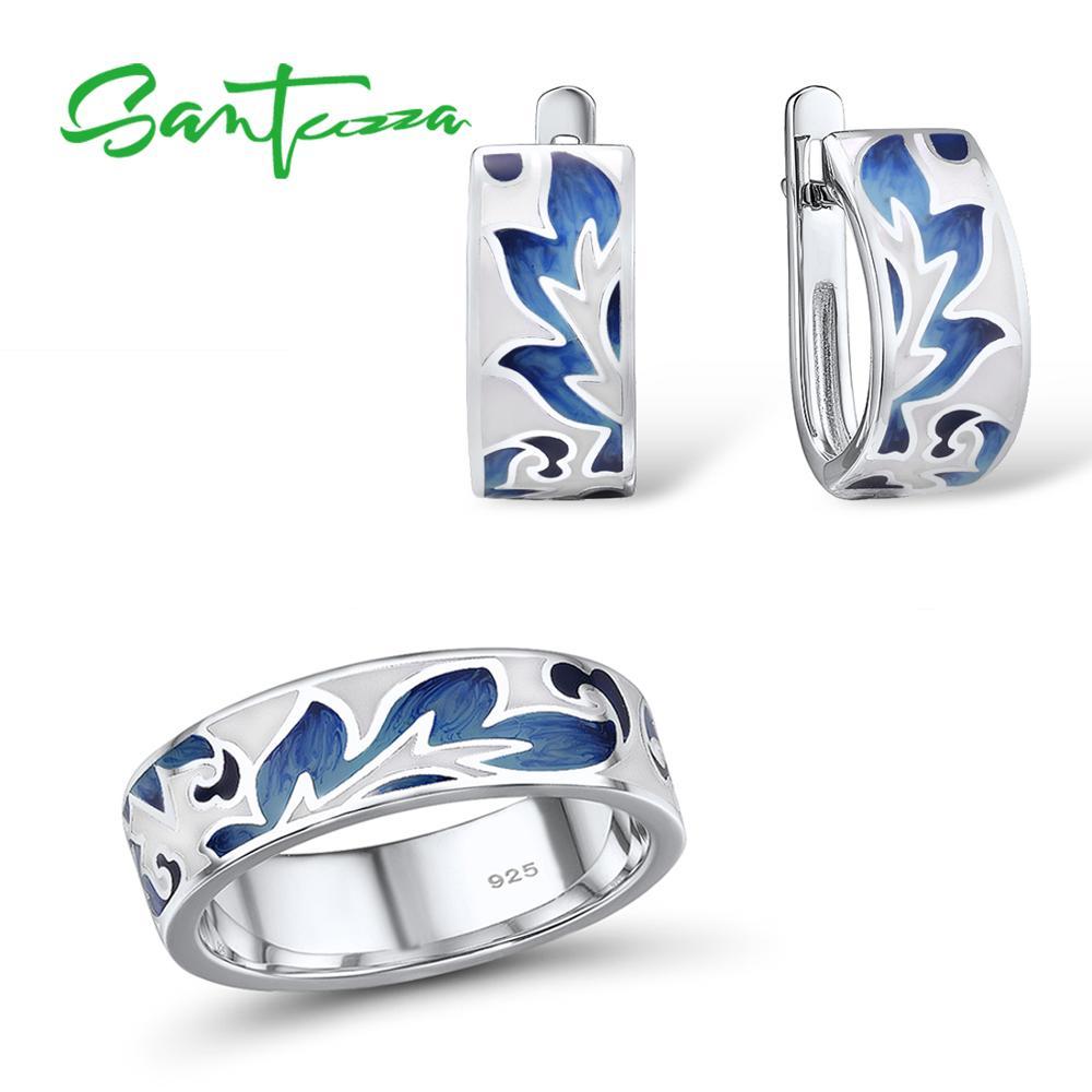 SANTUZZA Silver Jewelry Set For Women Pure 925 Sterling Silver Blue Leaves Enamel Earrings Ring Set Trendy Fine Jewelry Handmade