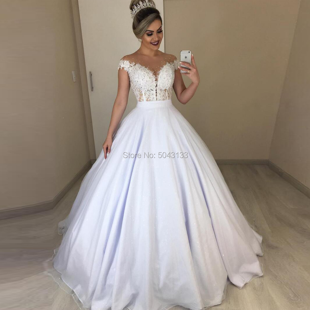 Elegant Two Pieces Wedding Dresses With Beads Sheer O Neck Sexy Illusion Backless Bridal Gowns Lace Appliques Corset Long 2020
