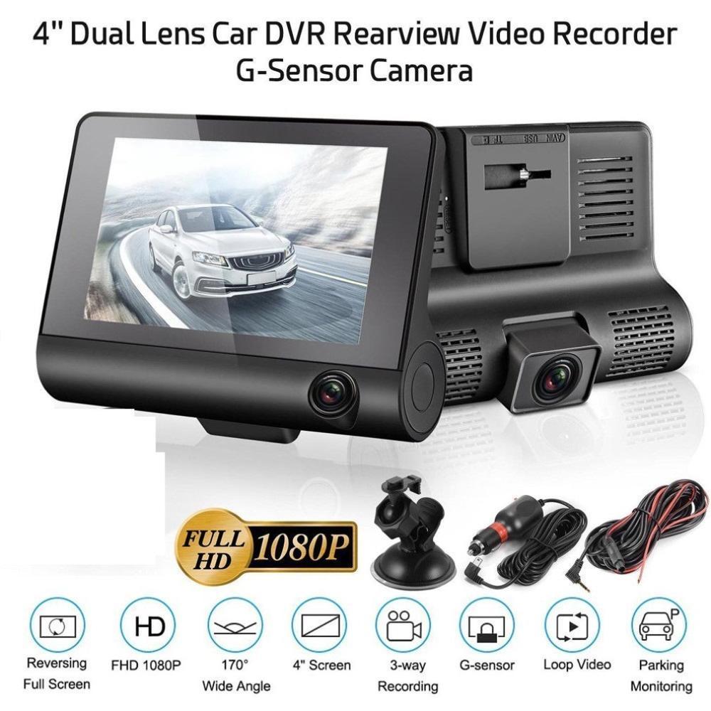 "4/"" 1080P HD 170° 3 Lens Car DVR Dash Cam G-sensor Recorder Rearview Camera US"