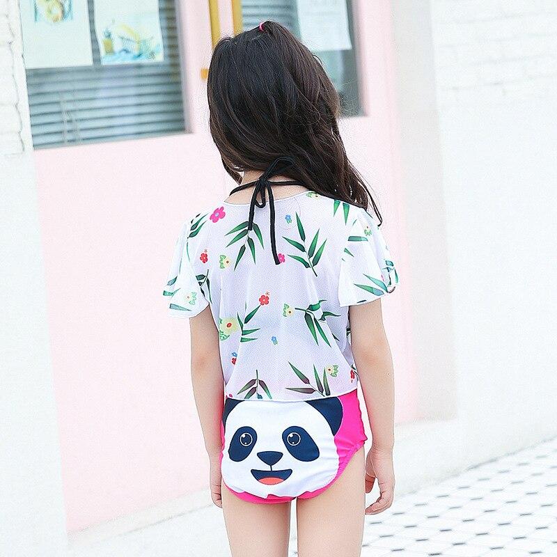 New Style Girls Cute Cartoon Panda Playful KID'S Swimwear GIRL'S Bikini Princess Split Swimwear Korean-style