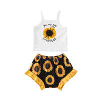 0-24M Summer Infant Kids Baby Girls Clothes Sets Sunflowers Print Sleeveless Vest Tops+Shorts 2pcs