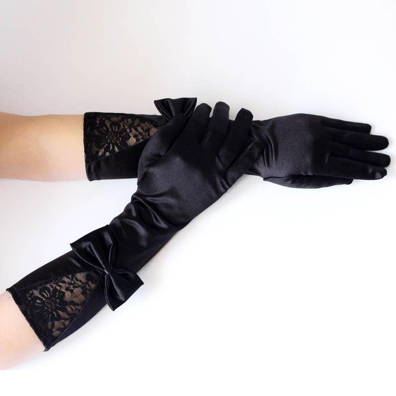 Novia Floral Lace Gloves For Women Black Satin Bowknot Unique Long Wedding Gloves Elbow Length Gloves Akcesoria Slubne ST307
