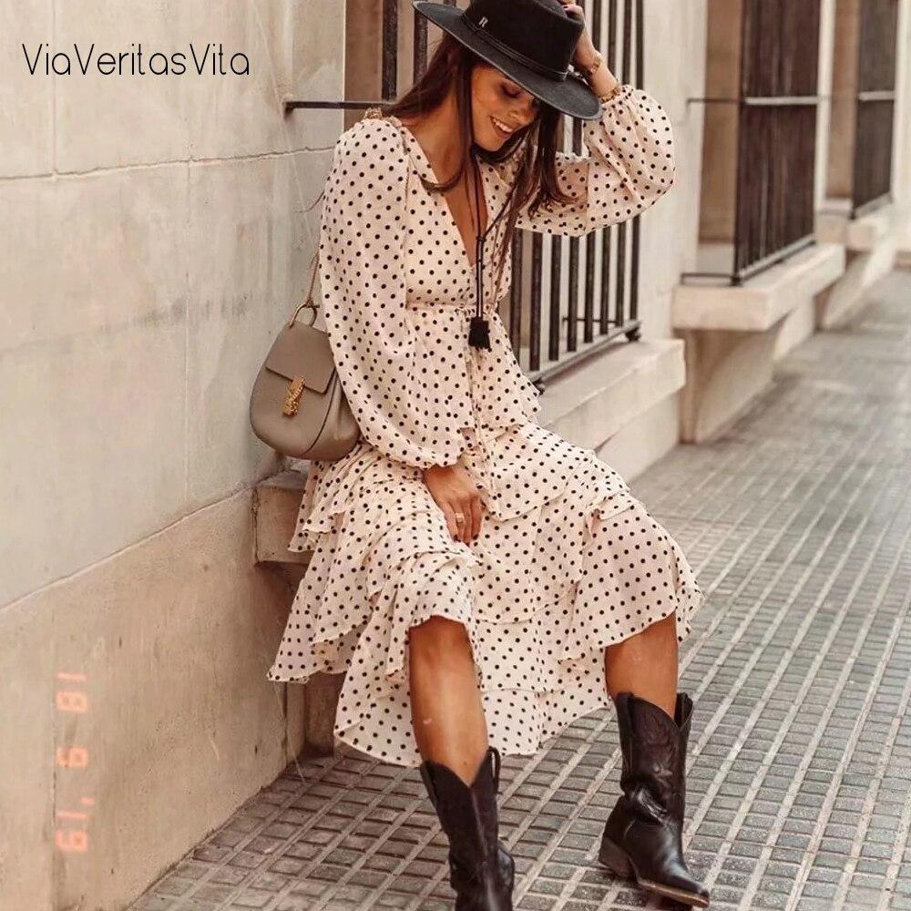 New Womens Polka Dots Maxi Dress Long Sleeve V Neck Cascading Ruffles Zora Vicky Dress Drawsring Long Winter Dress Vestidos 2020