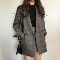 Ellacey Autumn Winter Women's Blazer 2019 Female Jacket Retro Plus Size Loose Plaid Suit Jacket Vintage Leisure Plaid Blazer