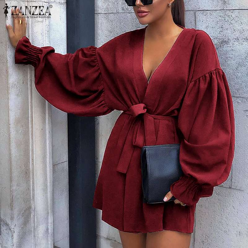 2020 ZANZEA Sexy Women Deep V Neck Long Puff Sleeve Mini Dress Casual Lace Up Party Club Sundress Female Elegant Solid Vestido