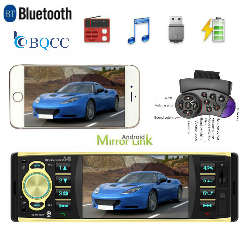 4 inch <font><b>Car</b></font> Radio Auto Audio Remote Control Stereo <font><b>MP3</b></font> <font><b>Player</b></font> AUX <font><b>With</b></font> <font><b>USB</b></font> <font><b>Port</b></font> and <font><b>SD</b></font> <font><b>Card</b></font> Slot FM Bluetooth 1din image