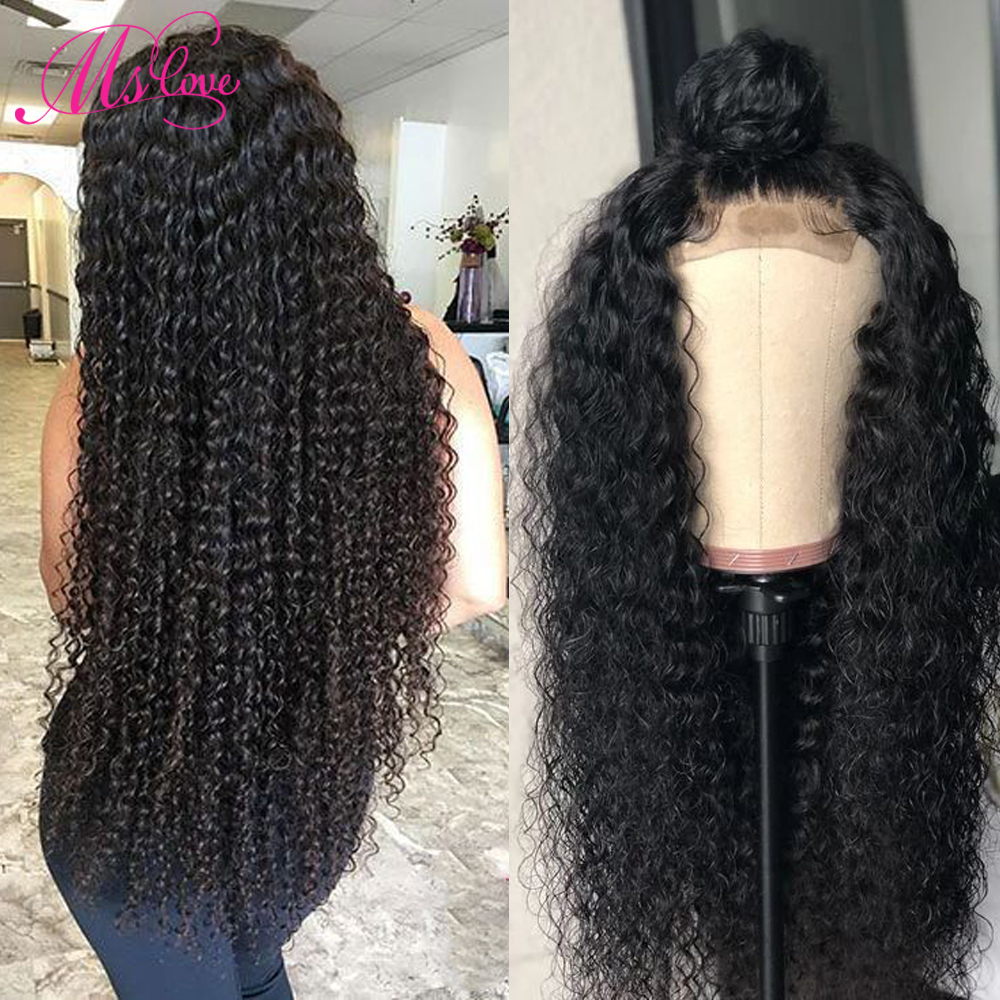 Curly Human Hair Wig Kinky Curly 4x4 Closure Wig Pre Plucked Brazilian Wig With Baby Hair For Black Women 150% Density Remy Hair