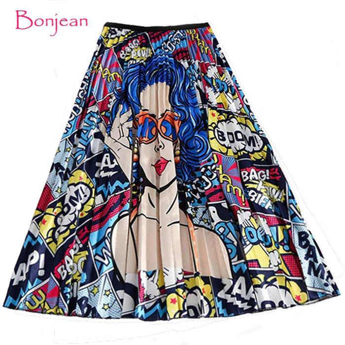 Winter frauen Falten rock Neue Cartoon Drucken Hohe Taille Lange Röcke Frauen Junge Mädchen Sommer Große Größe Japan Weibliche falda