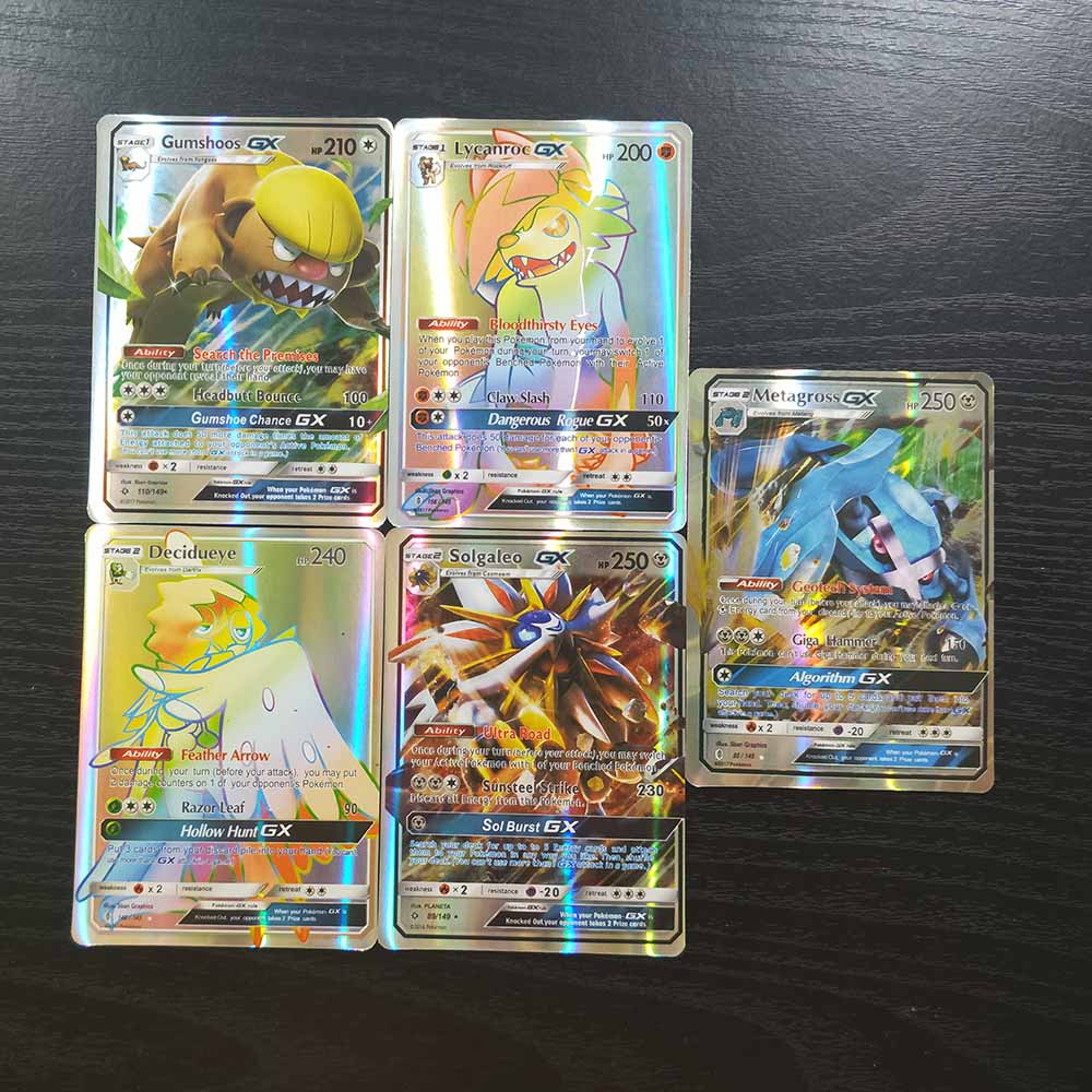 TAKARA TOMY Pokemon Board Game Children Toys Gifts 120pcs Flash Cards 115 GX 5 MEGA Collections Battle Shining Card