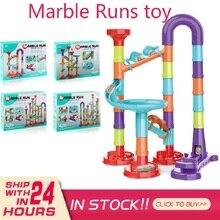 Toys Building-Blocks Duploed Marble Big-Bricks Race-Run DIY for Children Gift 45-113PCS
