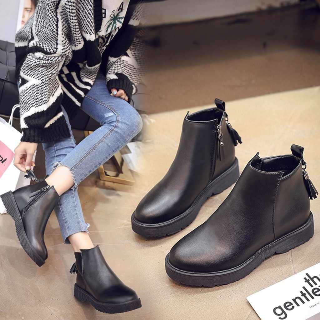 Phụ Nữ Đế Bằng Đầu Tròn Giày Da Tua Rua Ngắn Cổ Giày Bốt Martin Dây Kéo Thời Trang Đen Mắt Cá Chân Ủng Botas Mujer