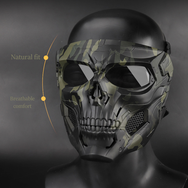 Skull Mask, Full Face Protective Paintball Masks For Airsoft Paintball Outdoor Cs War Game BB Gun Halloween Skeleton Masks