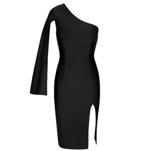 Image 4 - Ocstrade夏セクシーな腿スリット片方の肩包帯ドレス 2020 新到着の女性の黒包帯ドレスボディコンクラブパーティードレス