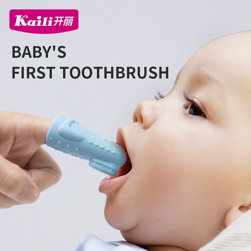 Kaili Baby Items 3 Pieces Teether Essential Items Newborn Baby Things Silicon BPA FREE Finger toothbrush for baby image