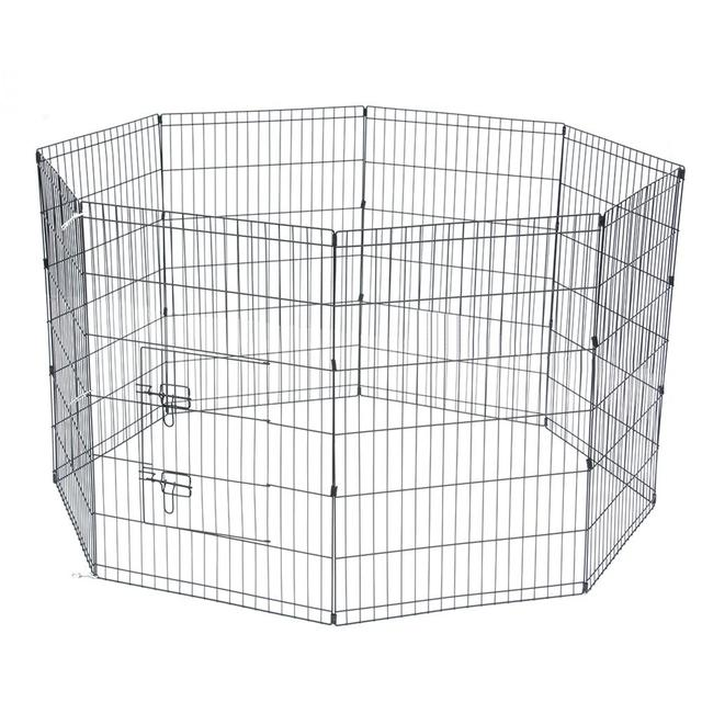 8 Panel Foldable Pet Dogs Cats Fence Small Animal Cage Indoor Portable Metal Wire Yard Fence Rabbits Kennel Crate Fence Tent 4