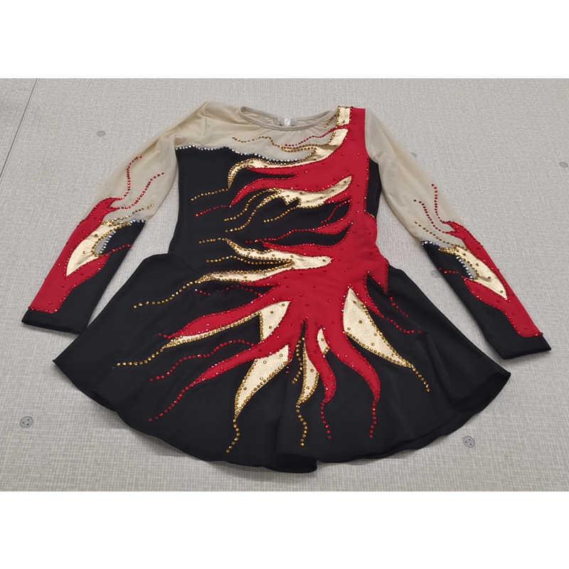 Индивидуальное художественное гимнастическое платье трико, боди, художественная форма для гимнастики, тренировочный костюм для детей, взрослых, черный, красный