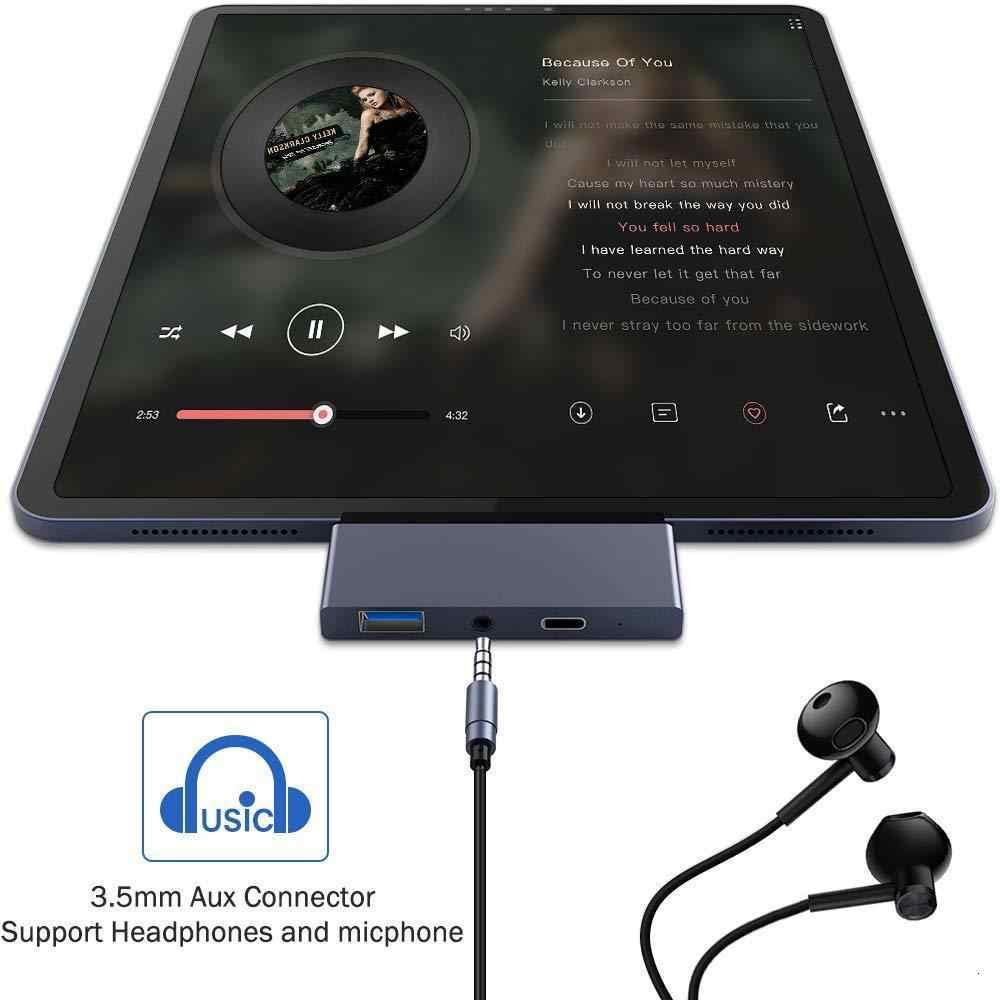 USB C HUB لباد برو محول دونغل مع 4k HDMI USB-C Pd 60 واط شاحن USB 3.0 3.5 مللي متر سماعة الصوت جاك محطة الإرساء