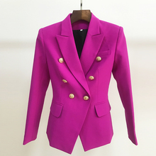 HIGH STREET 2020 New Designer Blazer Womens Double Breasted Lion Buttons Slim Fitting Gorgeous Purple Blazer Jacket