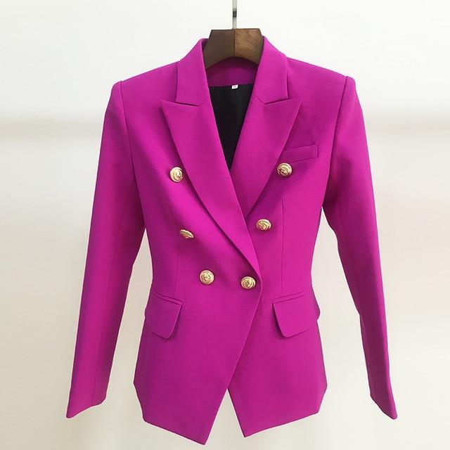 Yüksek sokak 2020 yeni tasarımcı Blazer kadın kruvaze aslan düğmeler Slim fit muhteşem mor Blazer ceket