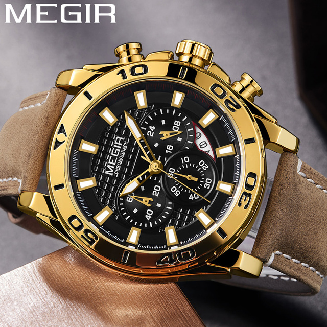 MEGIR הכרונוגרף Mens שעונים למעלה מותג יוקרה רצועת עור קוורץ גברים זכר שעון צבאי צבא ספורט תאריך שעון אריזת מתנה 2094